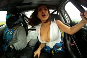 Chick busts out of top while drifting (NSFW)