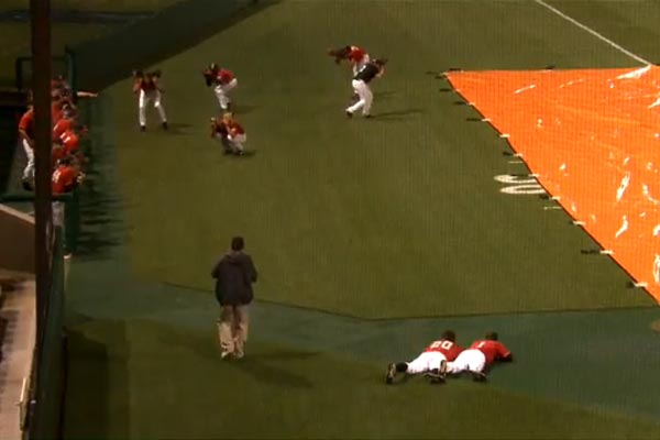 Clemson vs Davidson Baseball rain delay antics