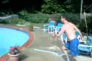 Running backflip into pool chair