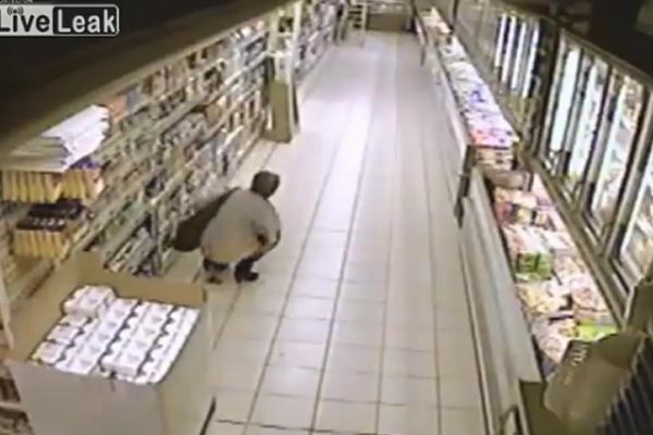 Old woman takes a dump on supermarket floor