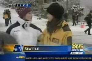 Sledder rips into news reporter on live TV