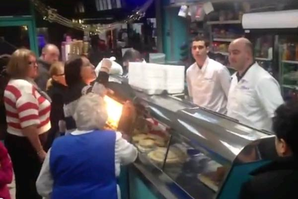 Fight at a fish and chip shop