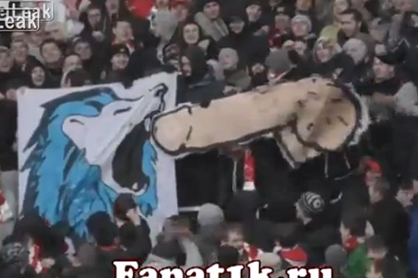 Footy fans get creatively filthy to piss off the other team