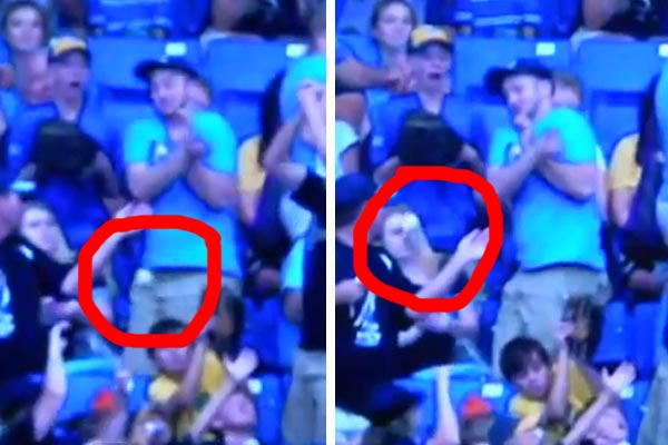 The unluckiest couple at a baseball game