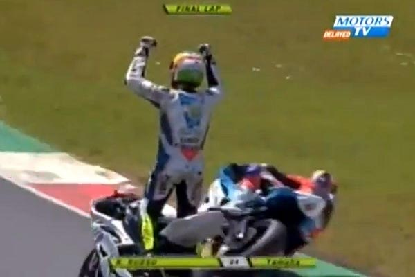 Biker celebrates one lap too early