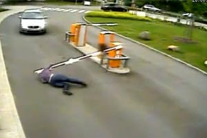 Parking barrier wipes out woman