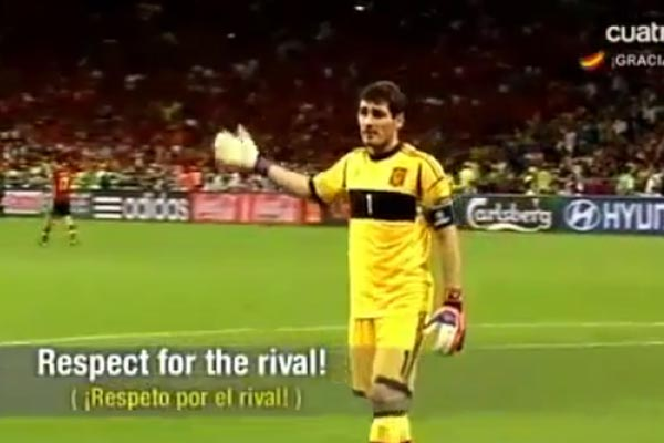 Spain goalkeeper asks ref to end game early
