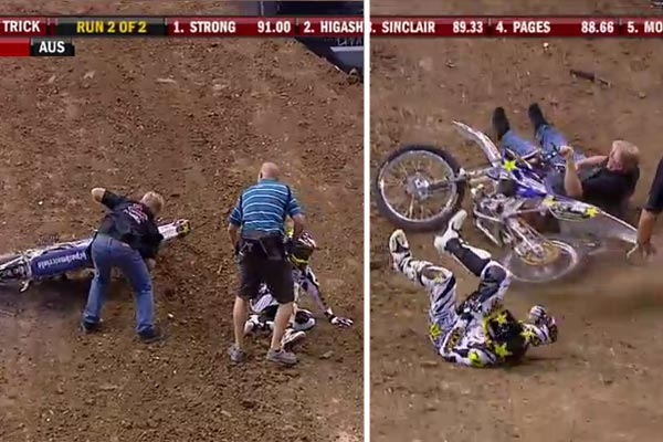 Roadie crashes bike into injured X-Games rider