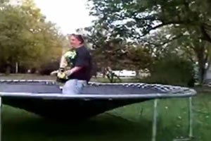 Fat woman breaks trampoline