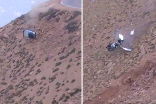 Epic crash at Pikes Peak