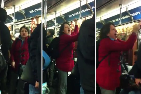 Crazy woman on the subway