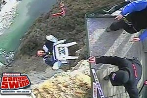 Bungy jumping in a chair