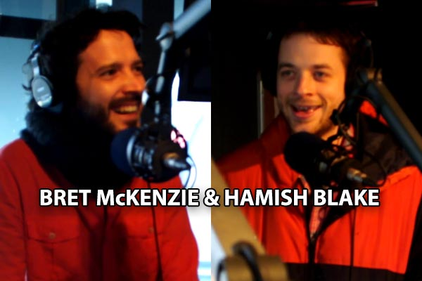 Bret McKenzie and Hamish Blake in studio