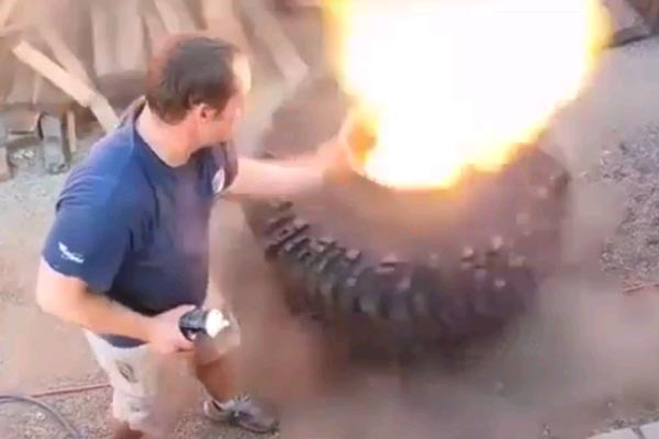 Blowing up a tyre with deodorant