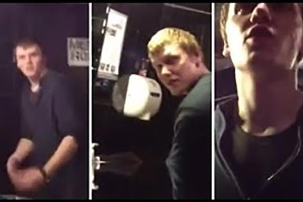 Guy caught jerking it in a nightclub bathroom