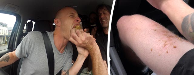 Jono takes pies on the thighs - Jono must try and drive the Rock Ute while Bert sporadically dumps volcanic mince onto his ghostly white thighs while he continues to drive. Can he go through with it?