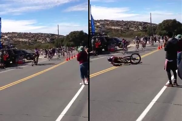 Cyclist prematurely celebrates, crashes immediately