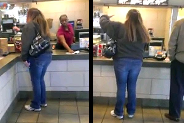Chick freaks out in a MacDonalds