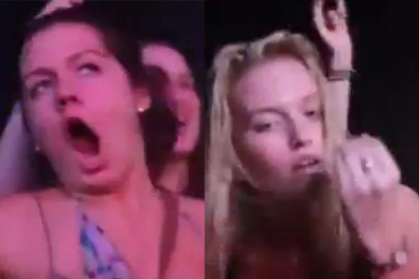 Drug-f**ked chicks dancing at a rave