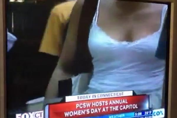 Cameraman zooms in on boobs during Women's Day celebration