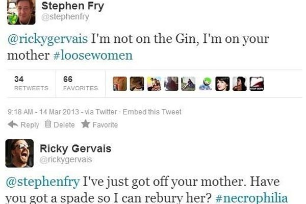 Ricky Gervais and Stephen Fry's epic twitter conversation