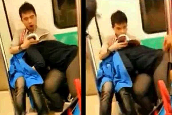 Guy gets a BJ in the subway