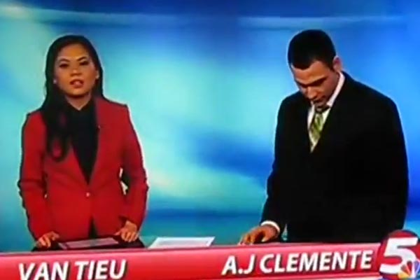 Newsreader first words on the job are &quot;F**kin sh*t&quot;