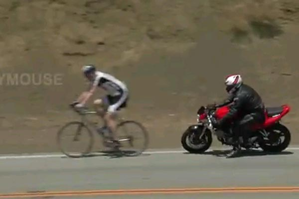 Motorbike crashes into a couple of cyclists