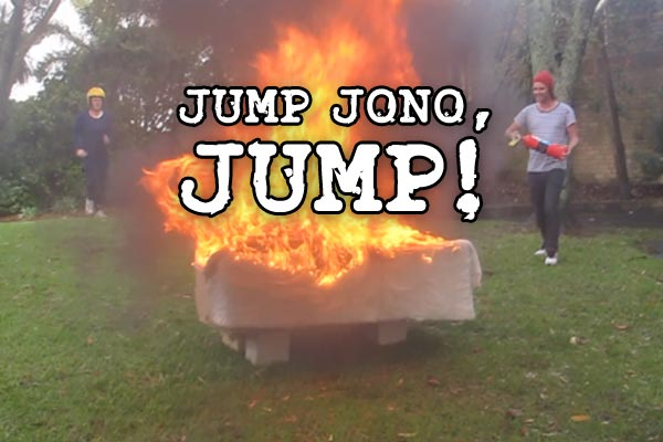 Jono jumps over a couch on fire