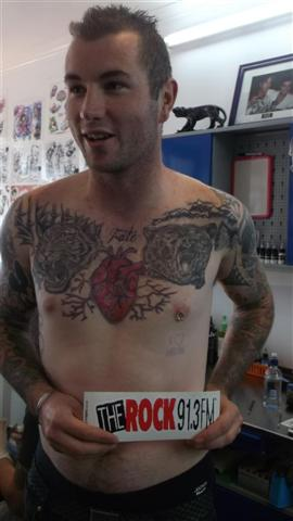 I Heart Mum with Black Rose Tattoo Emporium - this is the stencill of the tatt Brad had to get