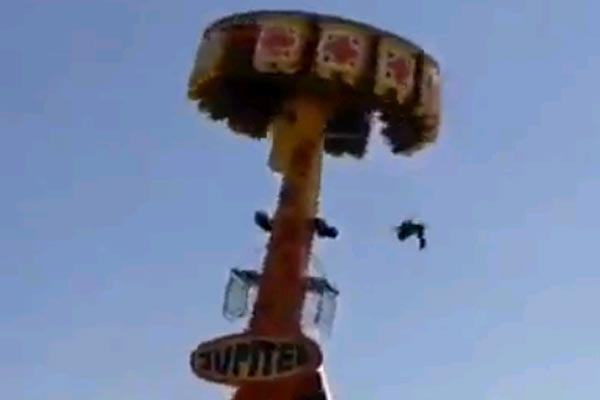 Guy falls from amusement park ride - There's a reason why they make you lock yourself in on those rides dude. What were you thinking?