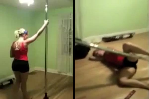 Girl attempts to pole dance