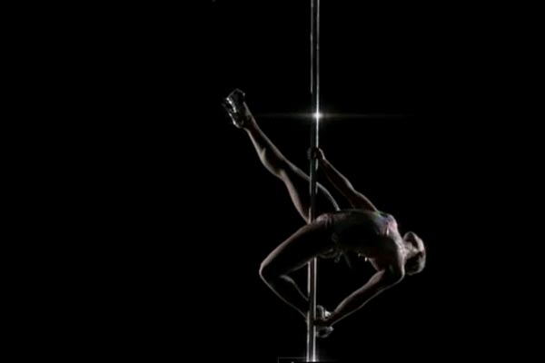 Pole dancers in slow mo