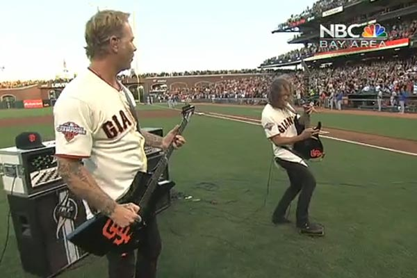 Metallica play U.S. National Anthem at baseball game