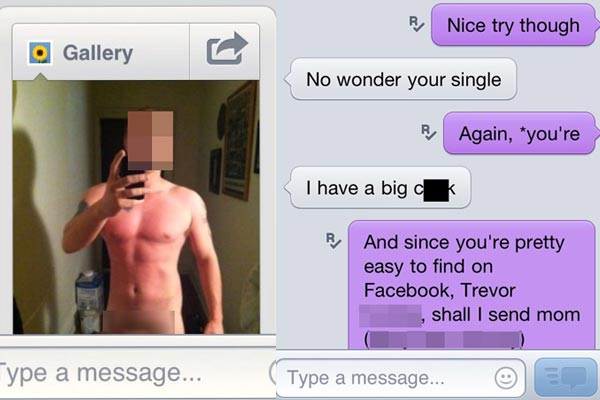 Guy sends photo of his junk to a girl he met online, she forwards it to his mum