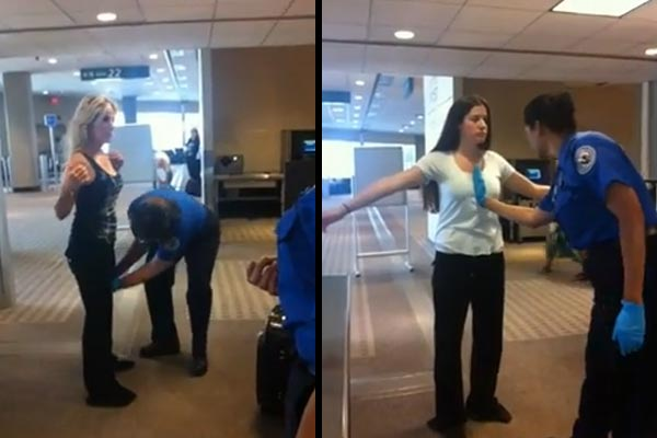 Airport security staff get touchy feely with passengers