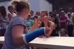 Arm wrestling with a broken arm