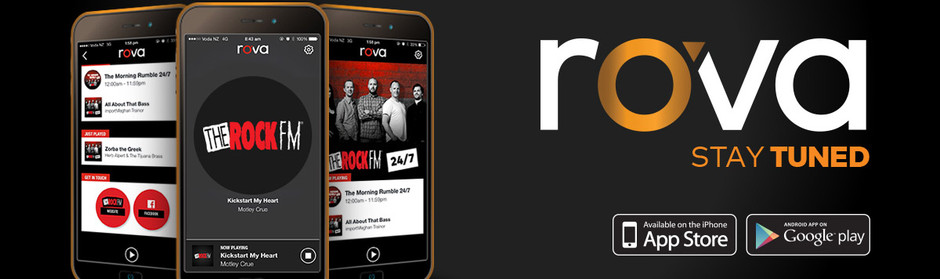 Stay tuned to The Rock - download the new rova app